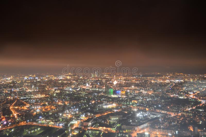 Moscow night cityscape from the Ostankino Tower stock images