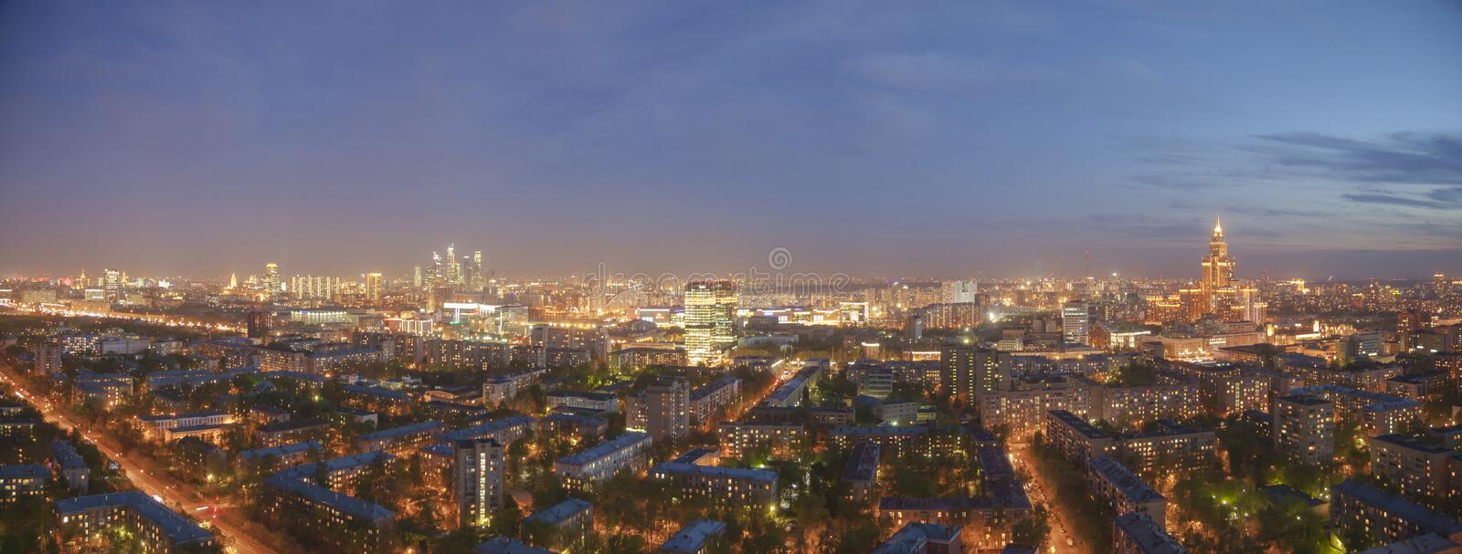 Moscow night cityscape panoramic view stock photography