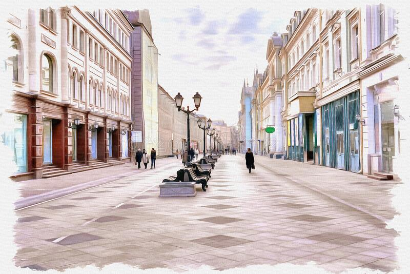 Moscow. Nikolskaya Street. Imitation of a picture. Oil paint. Illustration stock images