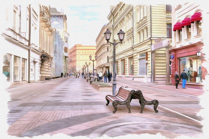 Moscow. Nikolskaya Street. Imitation of a picture. Oil paint. Illustration stock photography