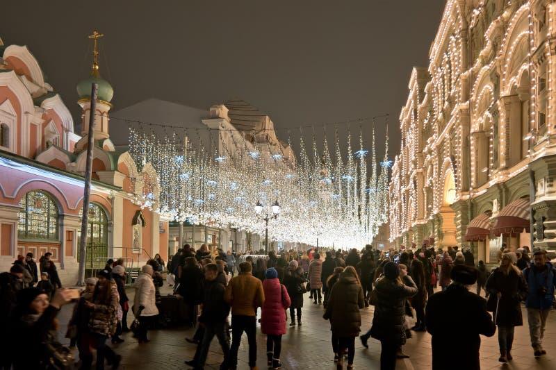 moscow Nikolskaya ulica iluminacje obraz royalty free