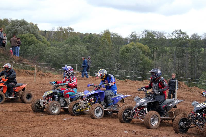 MOSCOW OBLAST, RUSSIA - SEPTEMBER 24 : Motocross, spectacular and extreme sport, off-road racing Quad bike ATV Russia, Klin 24 S stock images