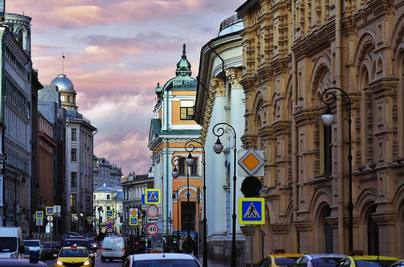 View of Ilyinka street, famous historical street in Moscow royalty free stock photo