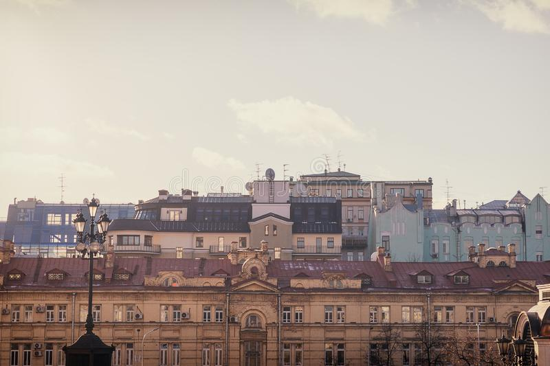 Moscow old houses facades view in the city center. Different color houses stock photo