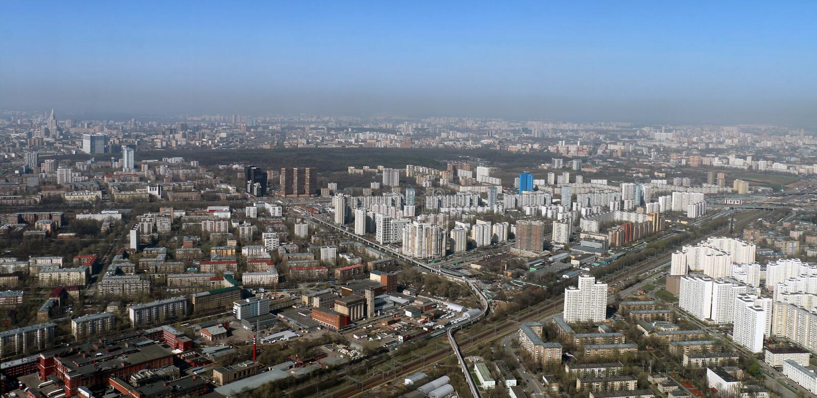 Moscow from the Ostankino television tower royalty free stock image