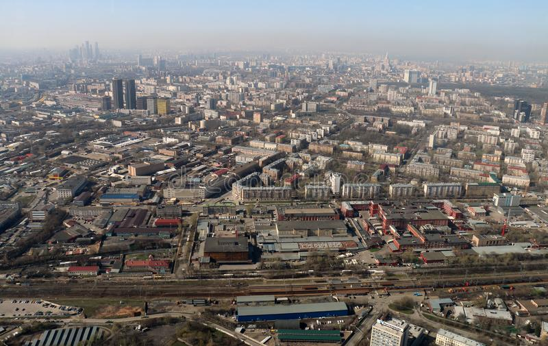 Moscow from the Ostankino television tower stock photo