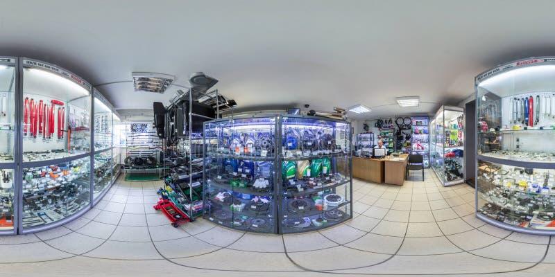 Moscow-2018: panorama 3D esférico com ângulo de visão de 360 graus do auto interior da loja com peças de reparo, sobressalentes,  fotografia de stock