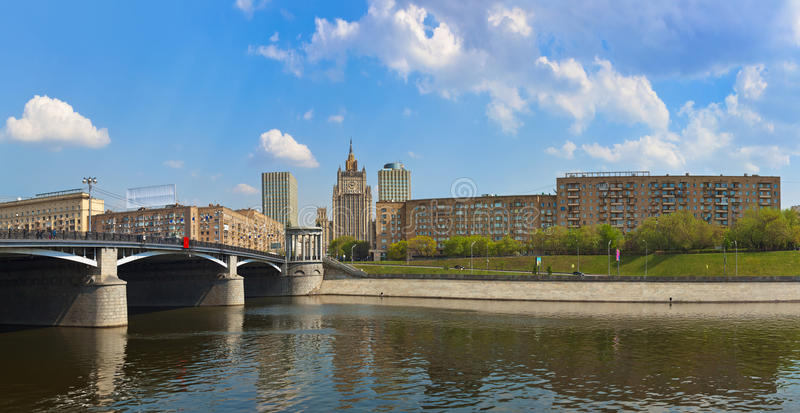 Moscow Panorama - famous skyscraper Ministry of Foreign Affairs. Panorama Moscow - famous skyscraper Ministry of Foreign Affairs of Russia royalty free stock image