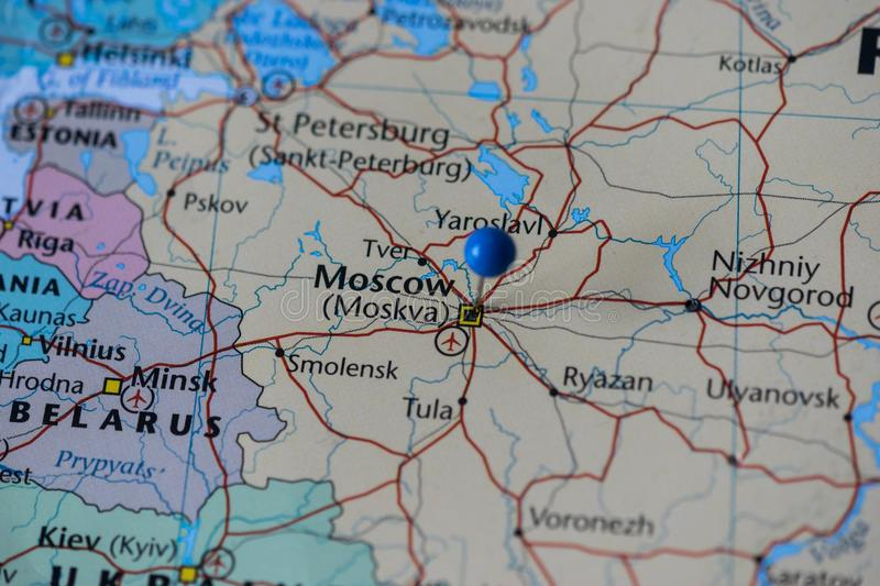 Moscow pinned in a closeup map for football world cup 2018 in russia download moscow pinned in a closeup map for football world cup 2018 in russia stock image gumiabroncs Images