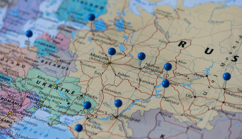 Moscow Pinned with other world cup venue cities in a closeup map for football world cup 2018 in Russia royalty free stock photography