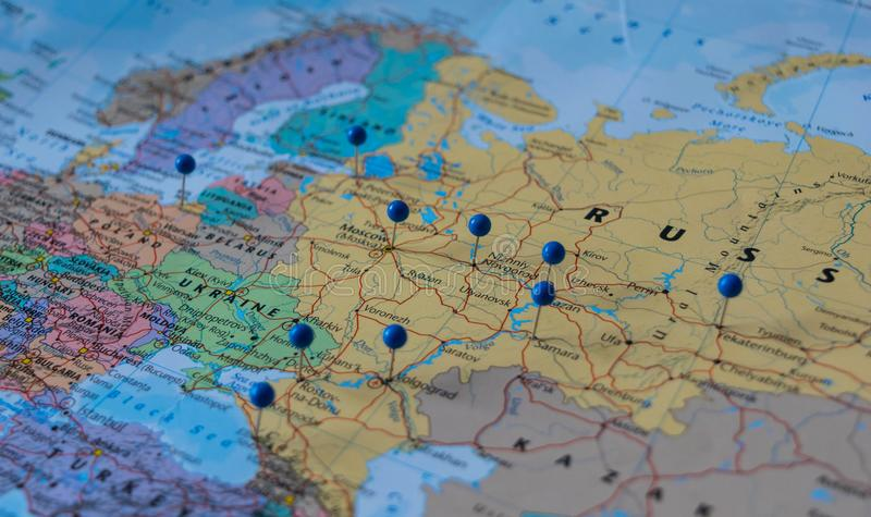 Moscow Pinned with other world cup venue cities in a closeup map for football world cup 2018 in Russia royalty free stock images