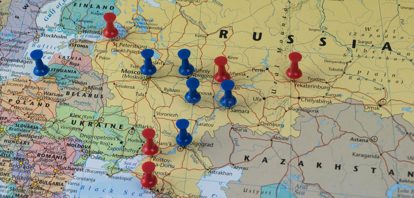 Moscow Pinned with other world cup venue cities in a closeup map for football world cup 2018 in Russia royalty free stock photo