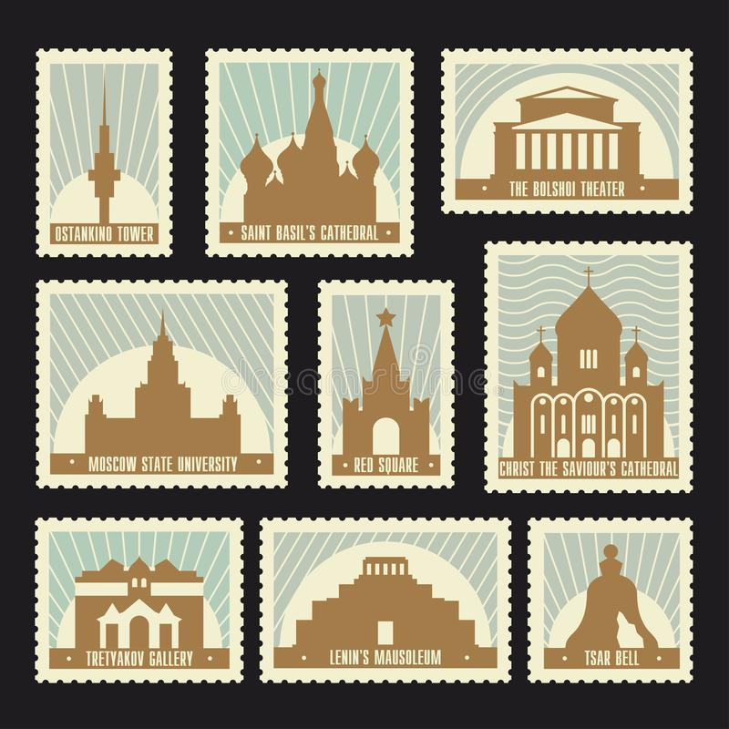 Moscow Post Stamps Set. Set of Moscow historic sights post stamps. Red Square, Saint Basil`s Cathedral, Bolshoi Theatre, Ostankino Tower, Tretyakov Gallery vector illustration