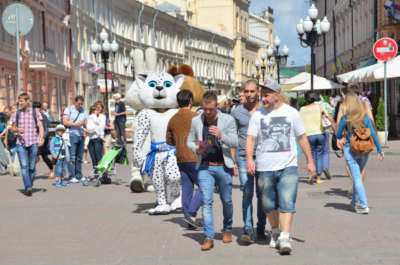 Moscow, Pussia, People walking on Old Arbat street in summer stock image