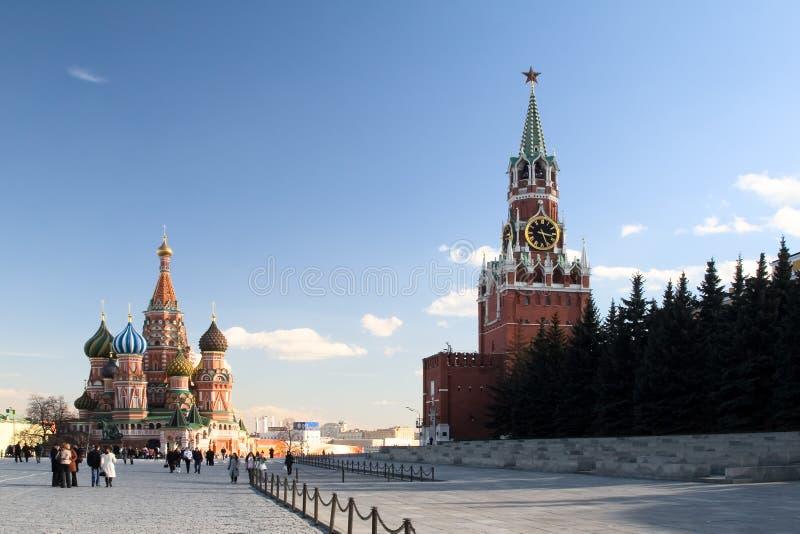 moscow röd russia fyrkantig sikt royaltyfria bilder