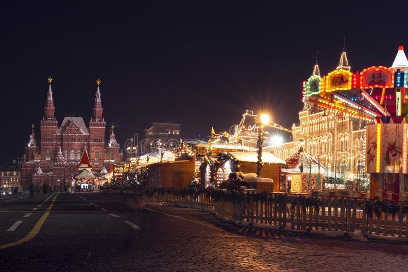 Moscow, Red square on Celebration Christmas and New Year. Festive decorations with shining lights in evening city, Russia royalty free stock photos