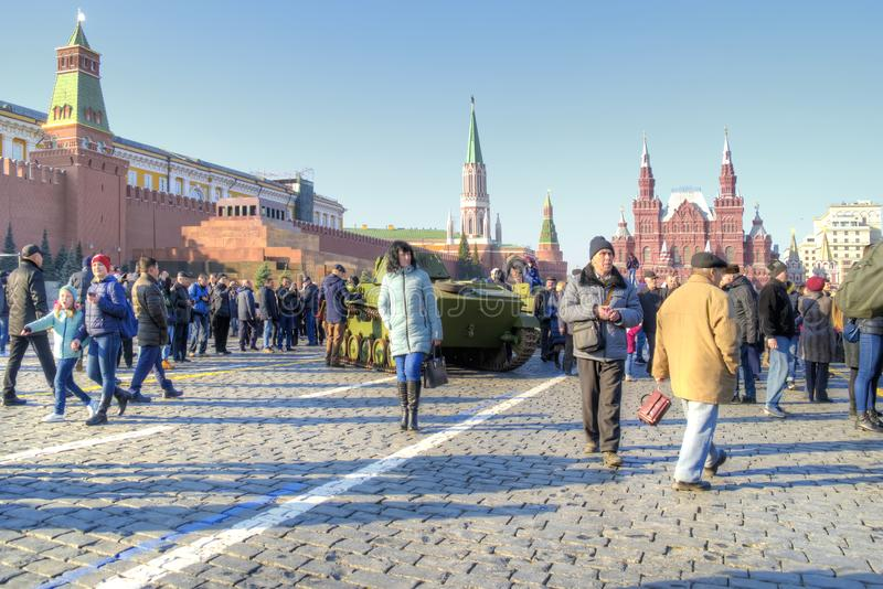 Moscow. The Red Square. Exhibition of old armored vehicles after royalty free stock photo