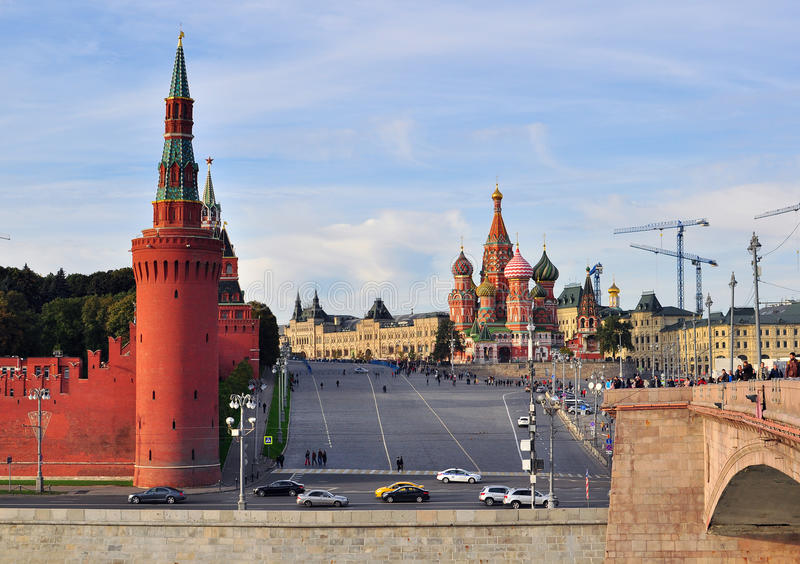 Moscow Red Square and Kremlin towers. MOSCOW, RUSSIA - OCTOBER 4: View of the Red Square and Kremlin towers in Moscow, Russia on October 4, 2015. Moscow is the stock photography