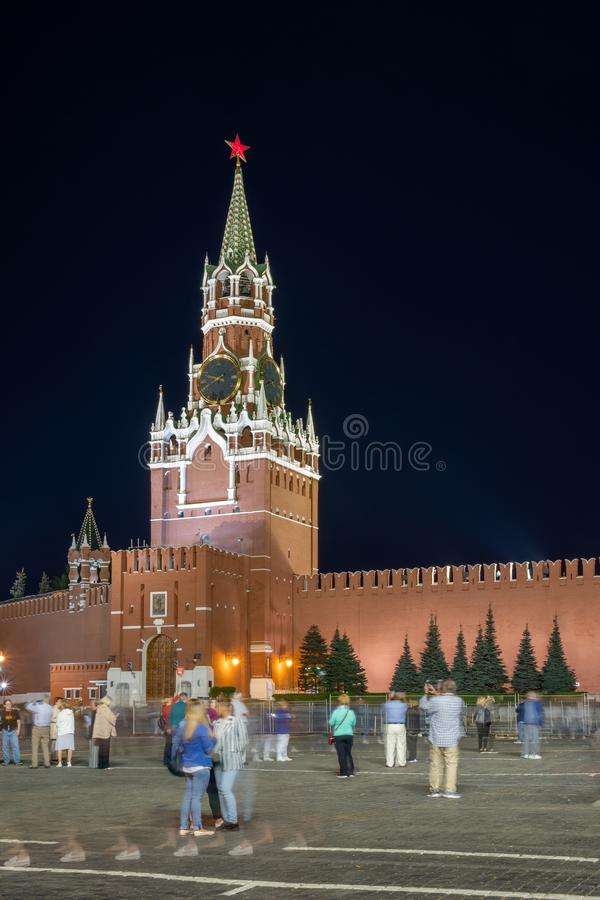 Moscow, Red Square, Spasskaya Tower night view royalty free stock image