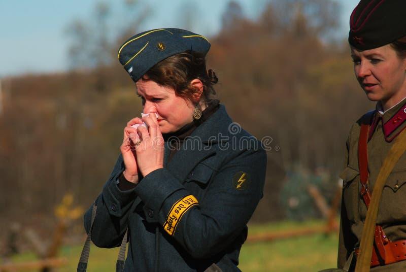 Moscow battle historical reenactment. Women soldiers-reenactors stock images