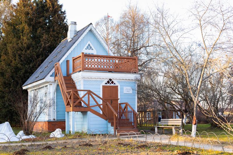 21-11-2019, Moscow region, Russia. Guest country house, the famous Russian writer Anton Chekhov wrote here. Small wooden summer royalty free stock images