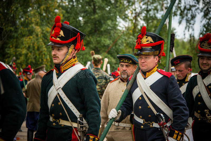 MOSCOW REGION - SEPTEMBER 06: Historical reenactment battle of Borodino at its 203 anniversary. stock photo