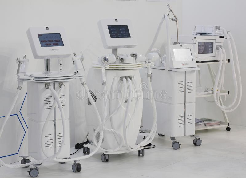 Medical equipment and equipment for beauty salons. Moscow, RF, 19.04.2019. Medical equipment and equipment for beauty salons. Laser systems and devices for royalty free stock photography