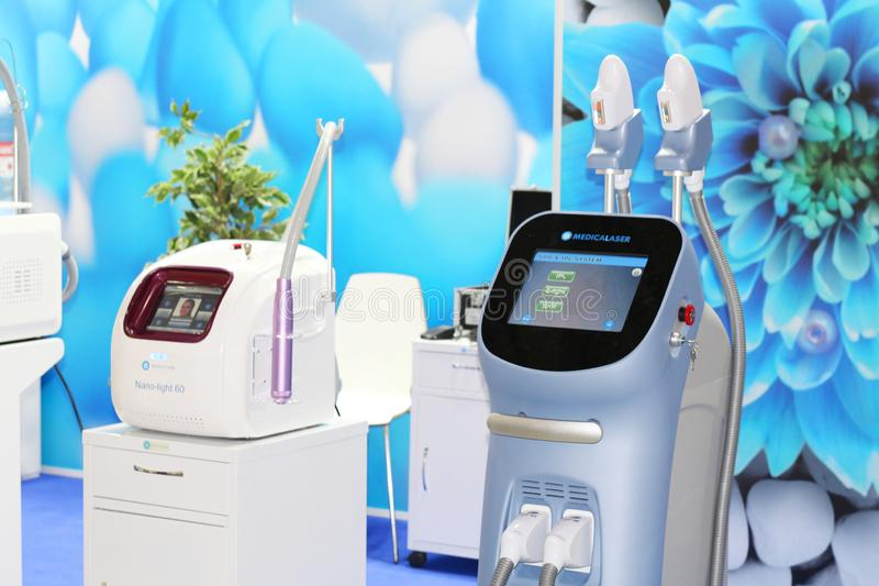 Medical equipment and equipment for beauty salons. Moscow, RF, 19.04.2019. Medical equipment and equipment for beauty salons. Laser systems and devices for stock images