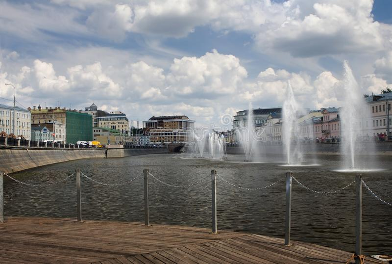 Moscow river. Fountains on the Moscow River near Bolotnaya embankment stock photography