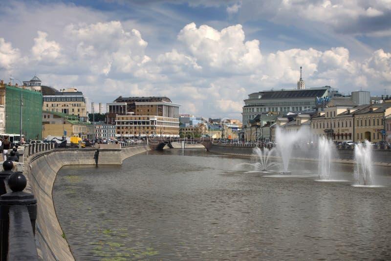 Moscow river. Fountains on the Moscow River near Kadyshevskaya embankment stock photos