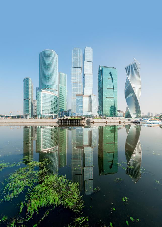 The Moscow River and the high skyscrapers royalty free stock photography