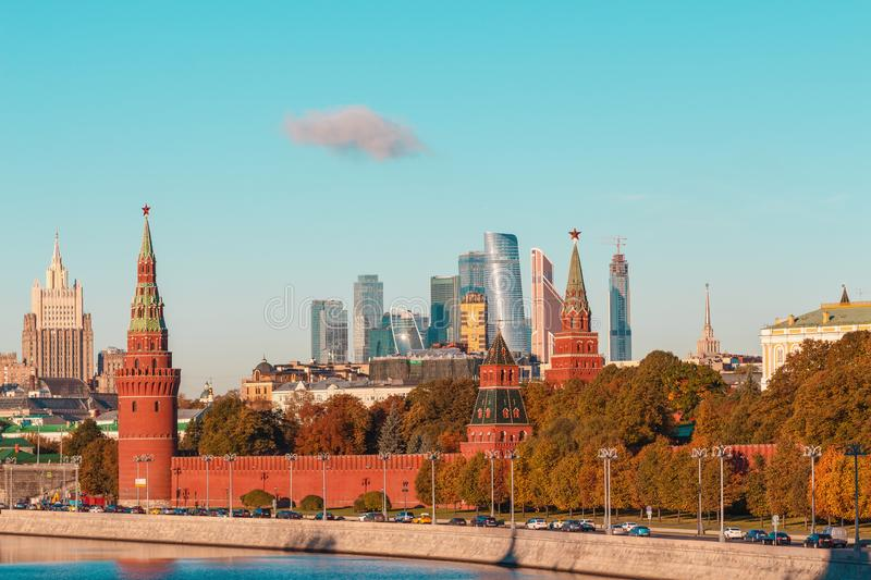 The Moscow river, the Kremlin and skyscrapers of the International business center Moscow City royalty free stock photo
