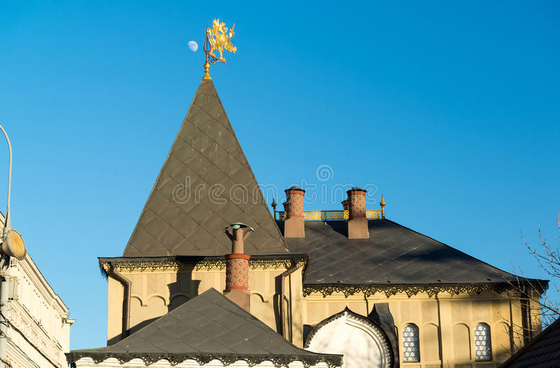 Moscow, roof Romanov Chambers in Varvarka street, Russia. Sight. Moscow, roof of Romanov Chambers in Varvarka street, Russia. Sight royalty free stock image