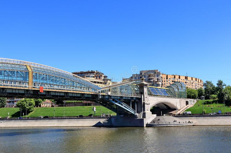 Moscow, Russia – May 25, 2018: Bridges of the Moscow River and buildings on the embankments. stock images