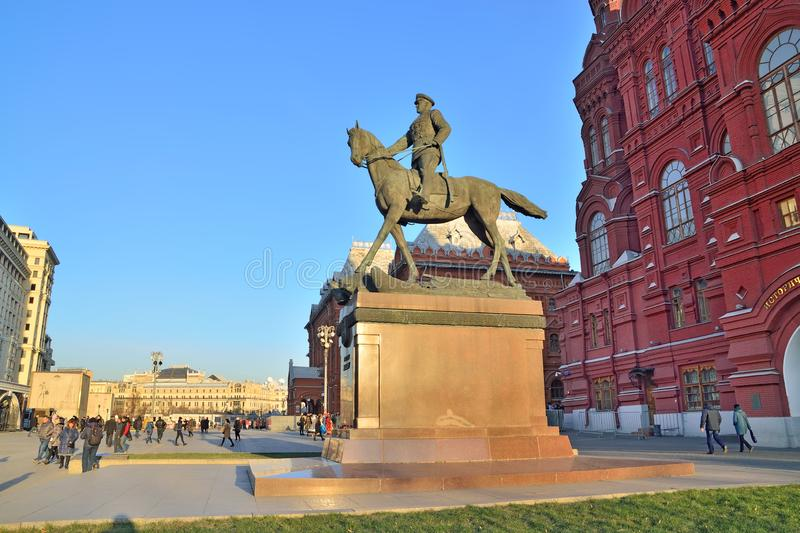 Moscow, Russia – November 16, 2018: Tourists visiting the monument to Marshal of the Soviet Union Georgy Zhukov on the stock image
