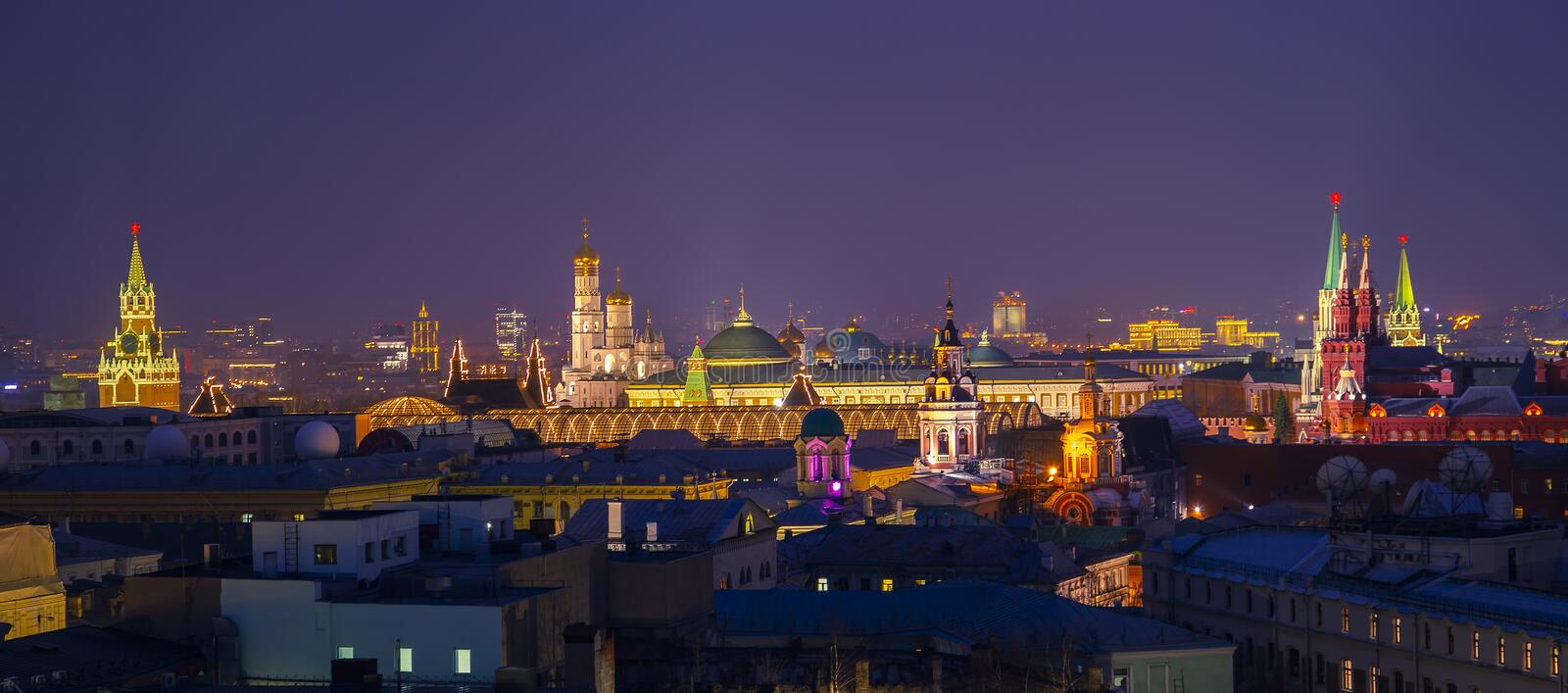 Moscow, Russia. Aerial view of popular landmarks - Kremlin walls, Saint Basil Cathedral and others - in Moscow, Russia stock images