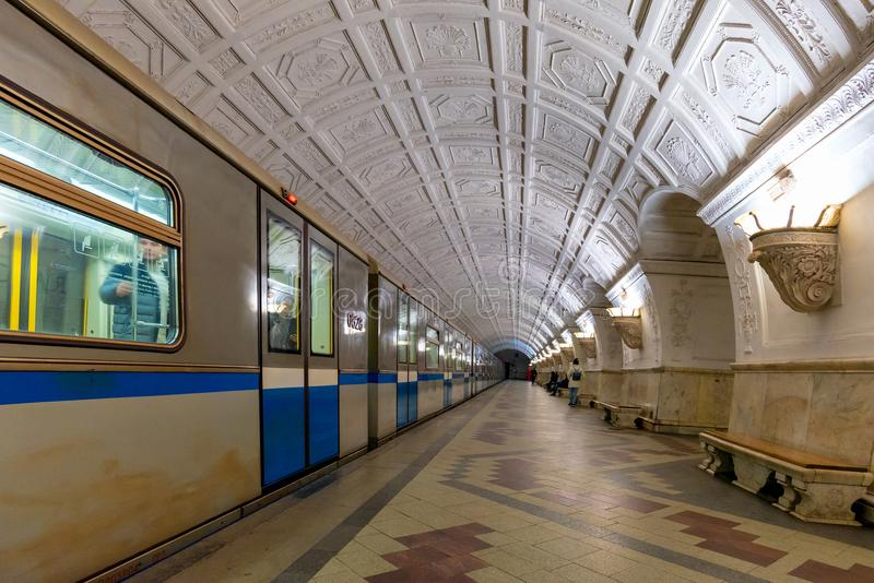 Interior of Belorusskaya subway station in Moscow, Russia. royalty free stock photography