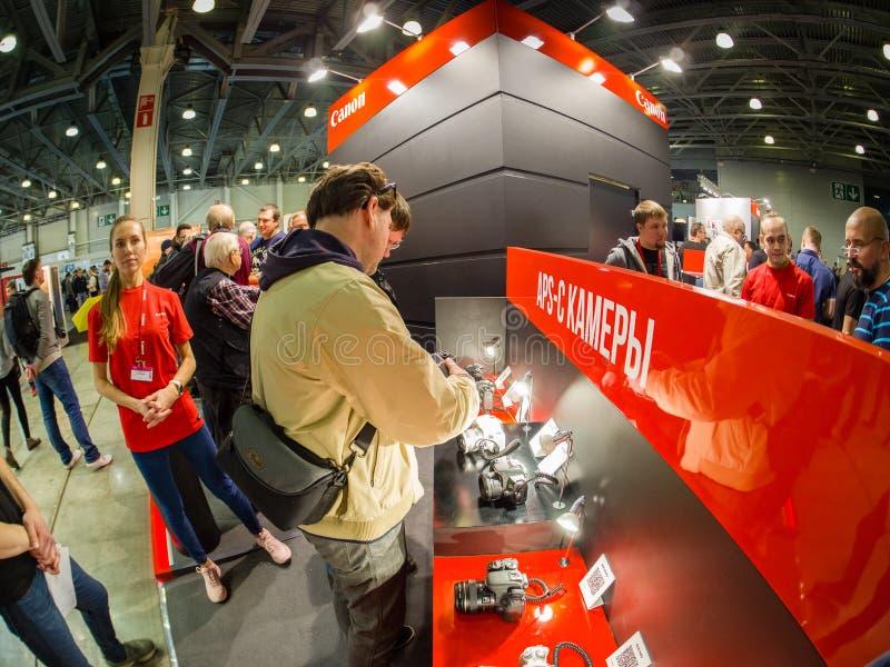 Booth of Canon company at PhotoForum 2019 trade show stock photo