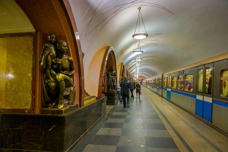 MOSCOW, RUSSIA- APRIL, 29, 2018: The bronze sculpture inside of Ploshchad Revolyutsii subway station royalty free stock photography