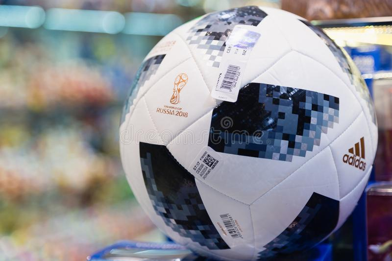 MOSCOW, RUSSIA - APRIL 30, 2018: TOP GLIDER match ball replica for World Cup FIFA 2018 mundial in the souvenir shop. MOSCOW, RUSSIA - APRIL 30, 2018: Copy of a royalty free stock photos