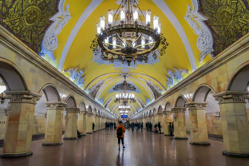 MOSCOW, RUSSIA- APRIL, 29, 2018: Inside view of metro station Komsomolskaya at night, subway is a great example of the stock image