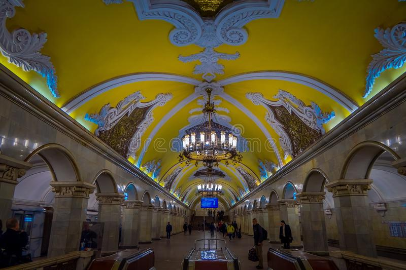 MOSCOW, RUSSIA- APRIL, 29, 2018: Inside view of unidentified people waling in metro station Komsomolskaya, subway is a royalty free stock photography