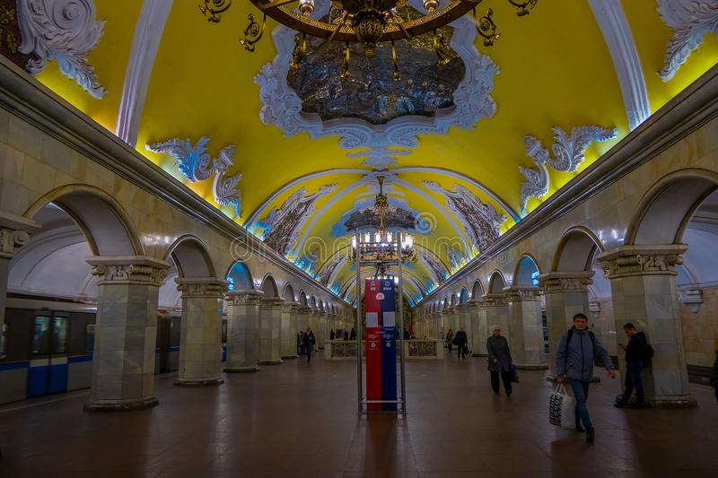 MOSCOW, RUSSIA- APRIL, 29, 2018: Inside view of unidentified people waling in metro station Komsomolskaya, subway is a royalty free stock images