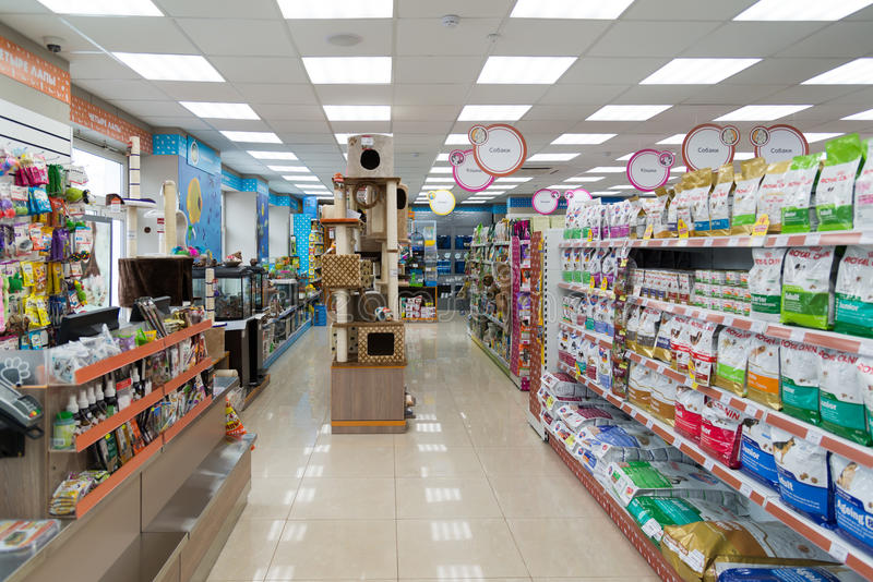 Moscow, Russia - April 16. 2016. Interior Four paws pet store. Moscow, Russia - April 16. 2016. Interior of Four paws pet store stock images
