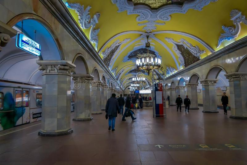 MOSCOW, RUSSIA- APRIL, 29, 2018: Metro station Komsomolskaya, subway is a great example of the Soviet design in Moscow stock photography