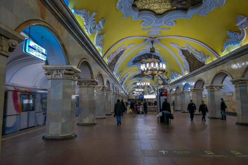 MOSCOW, RUSSIA- APRIL, 29, 2018: Metro station Komsomolskaya, subway is a great example of the Soviet design in Moscow royalty free stock photo