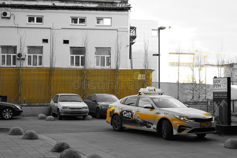 Moscow, Russia, April 2019 - Modern lifestyle and urban landscape, yard with cars of urban house. Moscow, Russia, April 2019 - Modern  yard with cars of urban royalty free stock photos