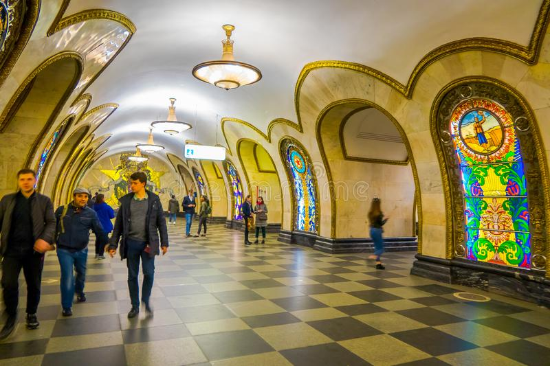 MOSCOW, RUSSIA- APRIL, 29, 2018: Novoslobodskaya subway station. The station is on the Koltsevaya Line of the Moscow stock images