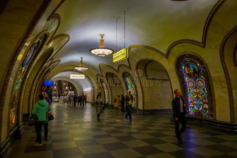 MOSCOW, RUSSIA- APRIL, 29, 2018: Novoslobodskaya subway station. The station is on the Koltsevaya Line of the Moscow royalty free stock images
