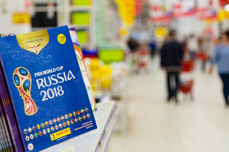 MOSCOW, RUSSIA - APRIL 27, 2018: Official album for stickers dedicated to the FIFA World Cup RUSSIA 2018 on store shelf. stock photography